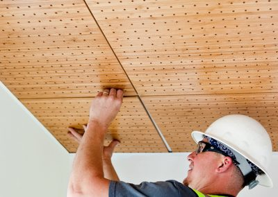 Madrid's patent pending GridLock System™ makes wood ceiling tiles easy to install